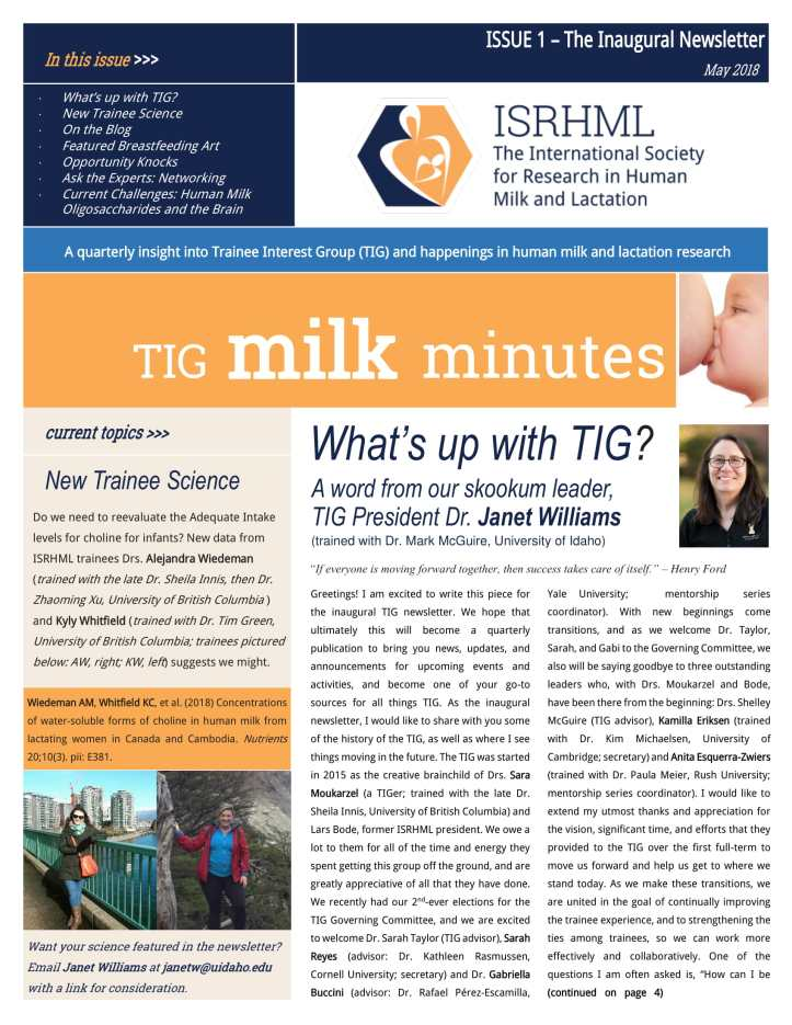 TIG Newsletter Issue 1 - 2018-1